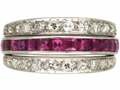 Art Deco 18ct White Gold, Sapphire Diamond & Ruby Flip Over Ring