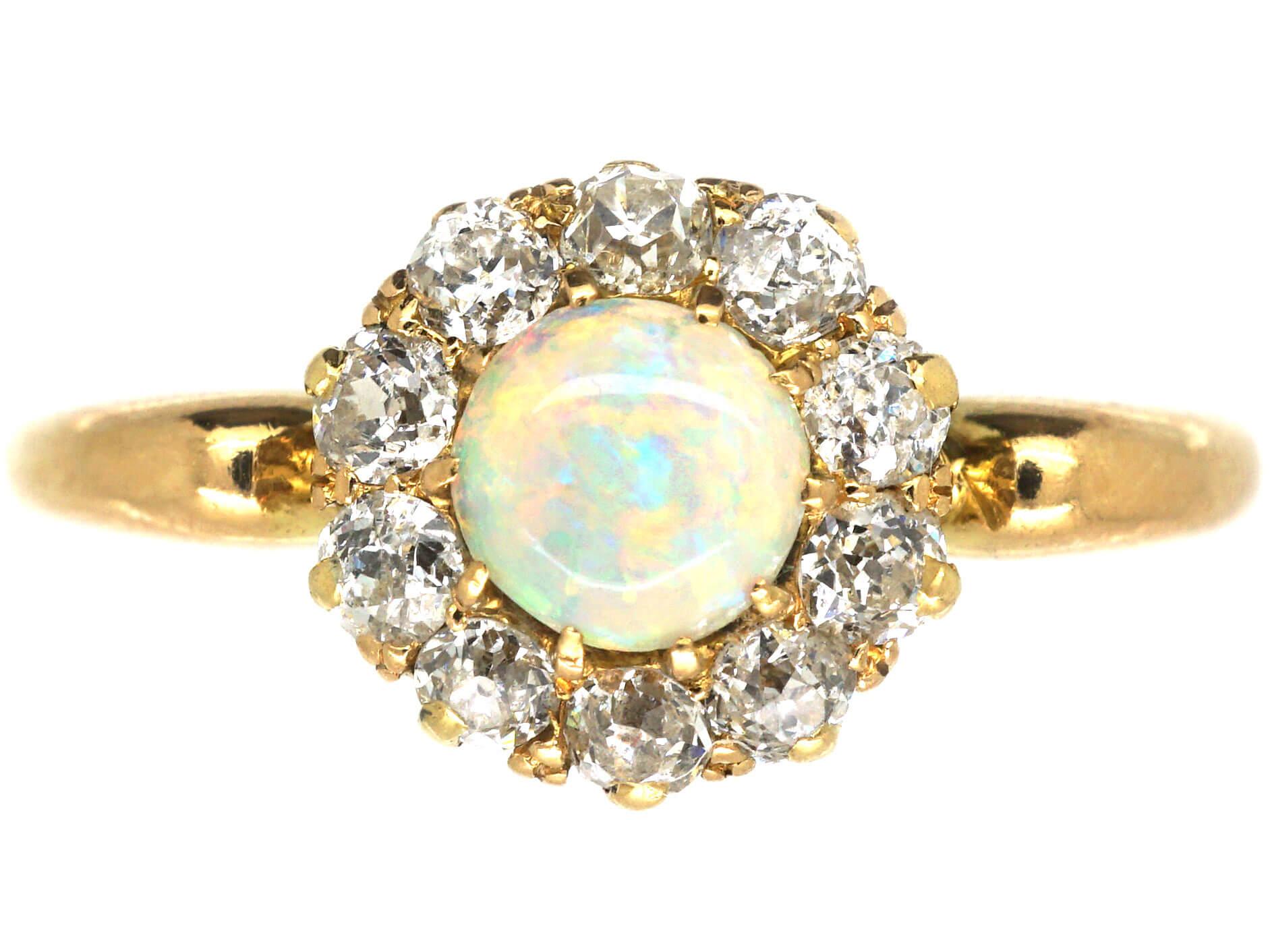 Edwardian 18ct Gold Opal & Diamond Cluster Ring