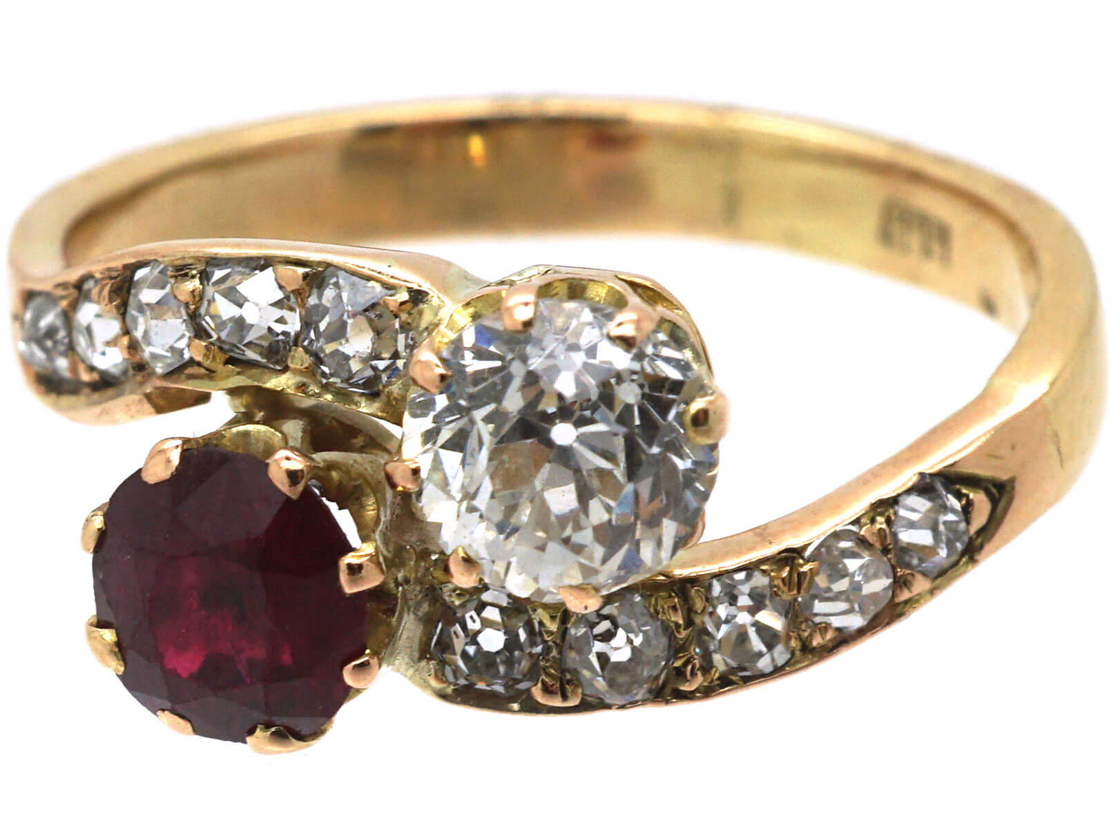 Edwardian 14ct Gold, Diamond & Ruby Crossover Ring