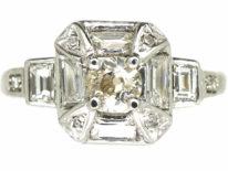 Art Deco Platinum Octagonal Shaped Diamond Ring