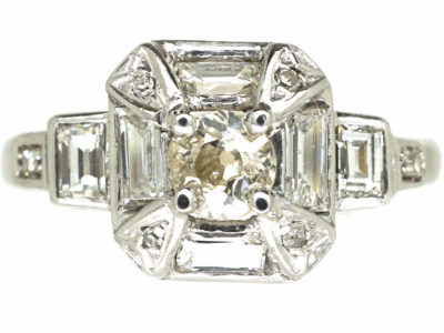 Art Deco Platinum Octagonal Shaped Diamond Ring