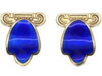 Silver & Blue Enamel Tulip Design Clip On Earrings by Andresen Scheinflug