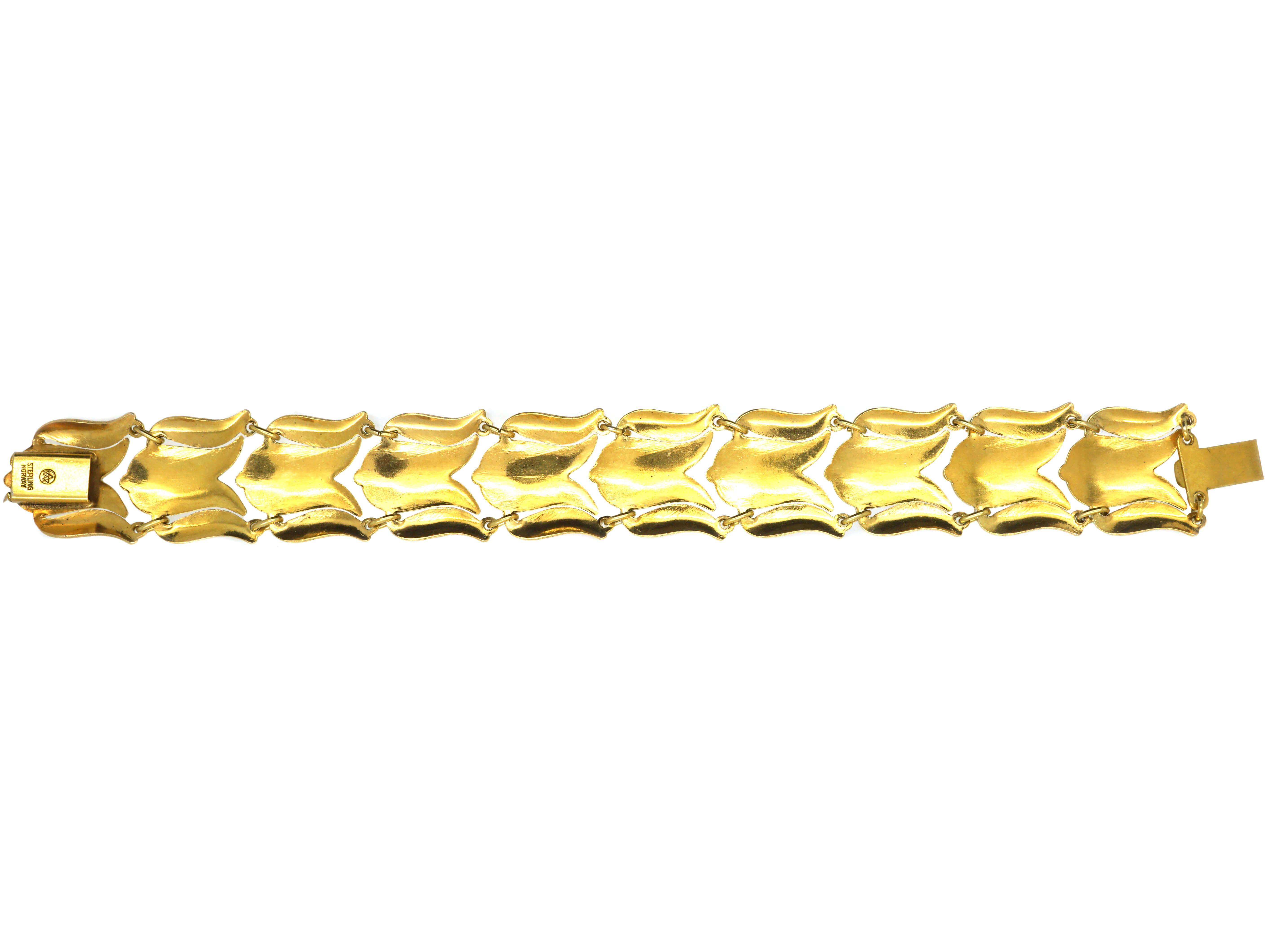 Retro Gilded Silver & White Enamel Tulip Bracelet by Asbjorn Burkelund