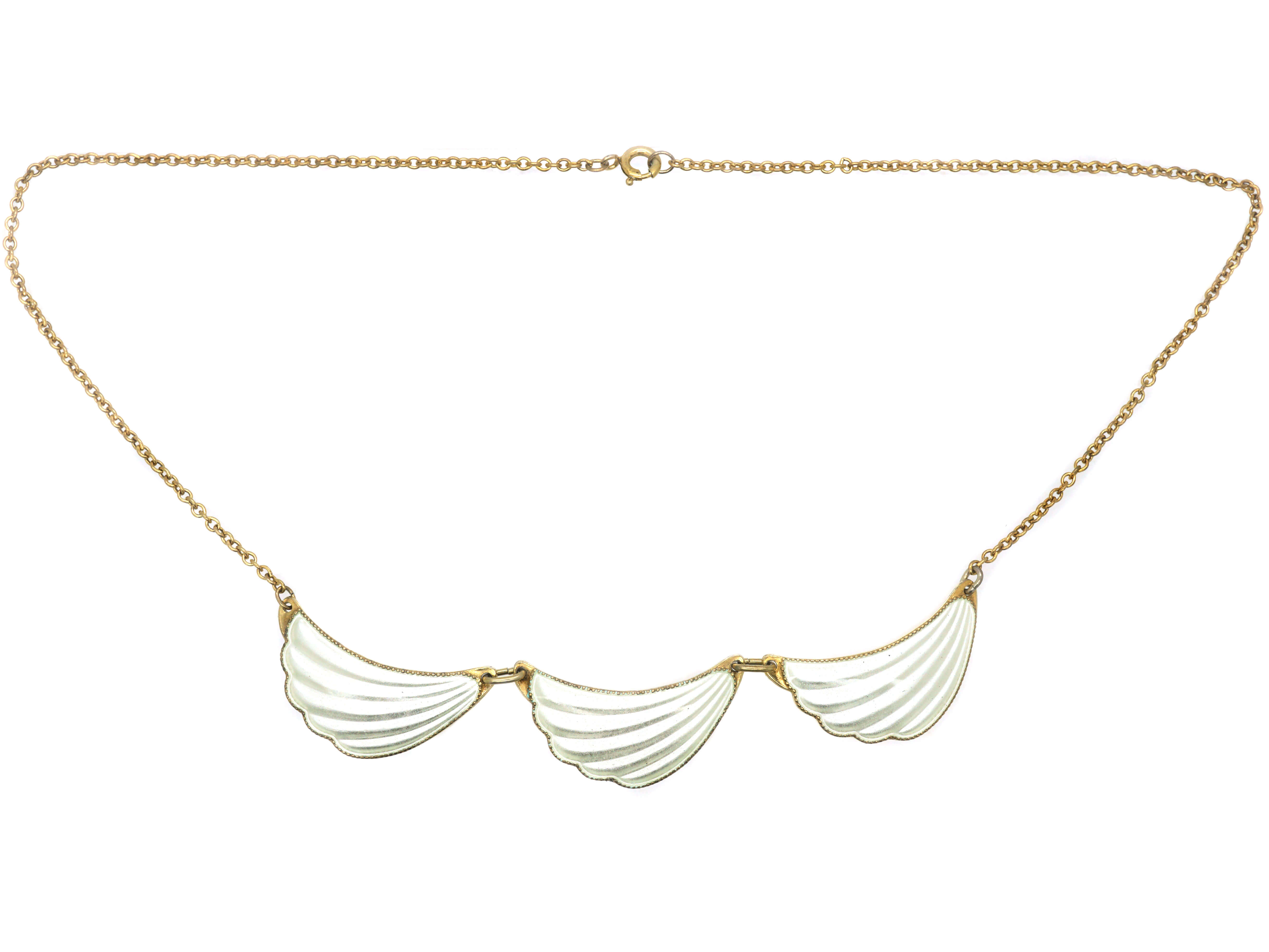 Silver & White Enamel Three Wave Necklace by Elvic & Company