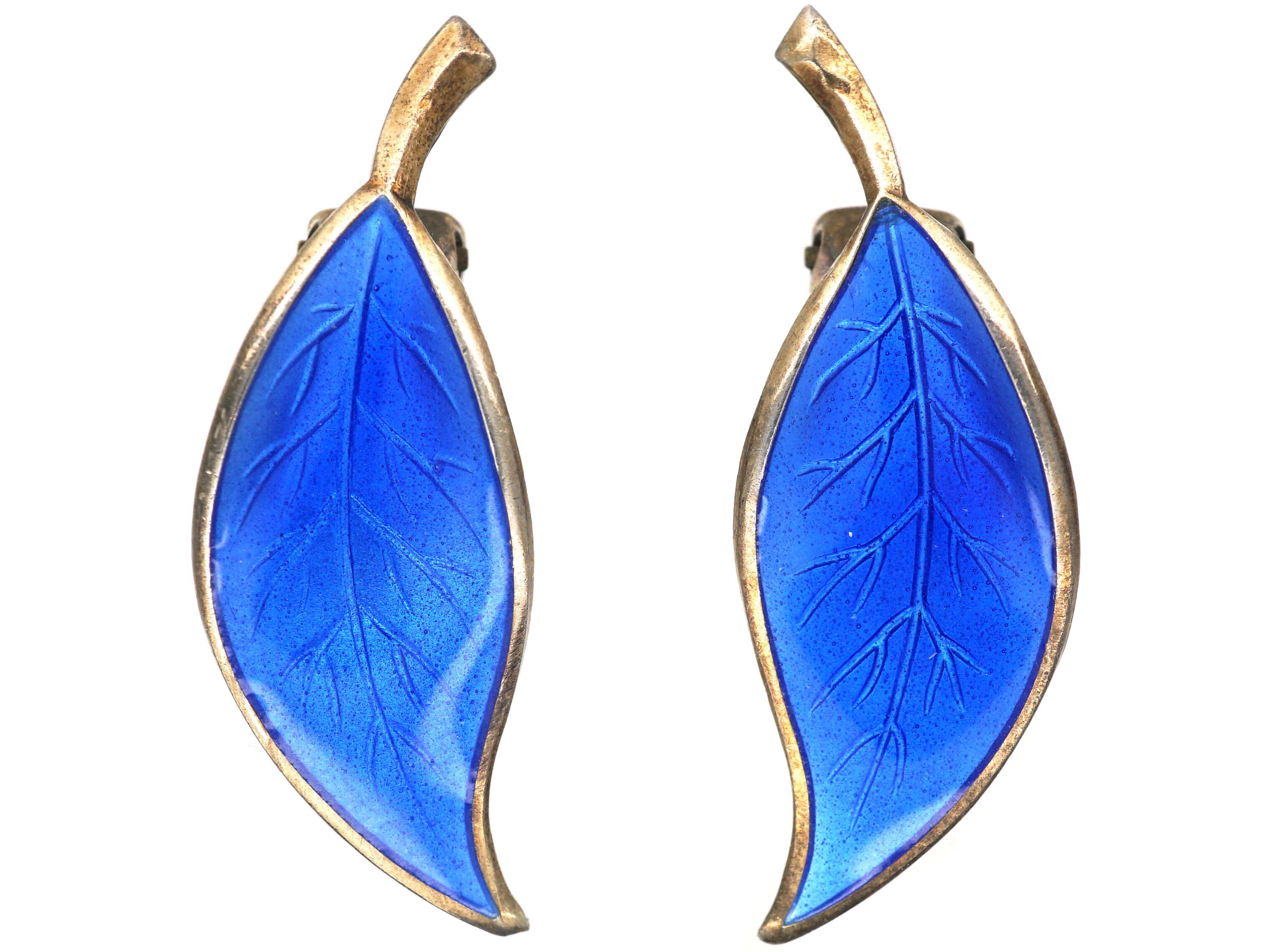 Silver & Blue Enamel Clip On Leaf Earrings by David Andersen