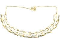 Retro Gilded Silver & White Enamel Tulip Design Necklace by Asbjorn Burkelund
