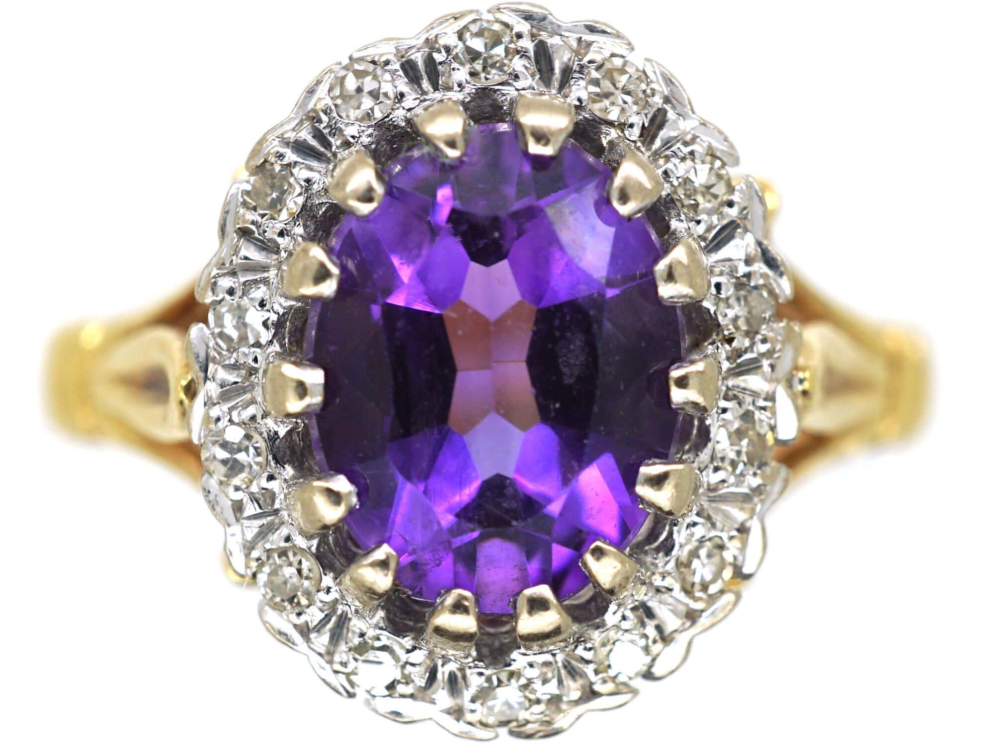18ct Gold, Amethyst & Diamond Cluster Ring