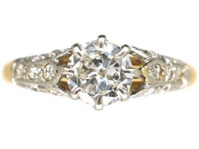 Art Deco 18ct Gold & Platinum, Diamond Solitaire Ring with Diamond Three Leaf Shoulders