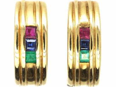 14ct Gold Hoop Earrings set with Rubies, Emeralds & Sapphires