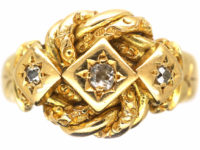 18ct Gold Knot Ring set with Three Diamonds