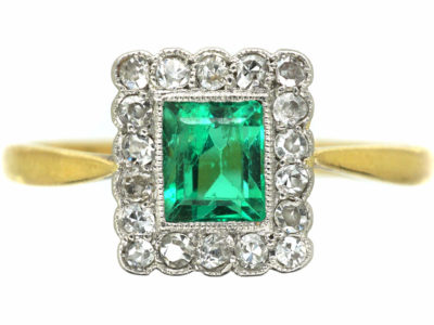 Art Deco 18ct Gold & Platinum, Emerald & Diamond Rectangular Shaped Ring
