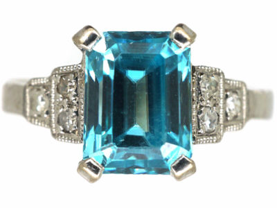 18ct White Gold, Aquamarine & Diamond Ring