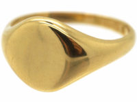 18ct Gold Plain Signet Ring by Charles Green & Sons