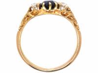 Edwardian 18ct Gold, Sapphire & Diamond Three Stone Ring