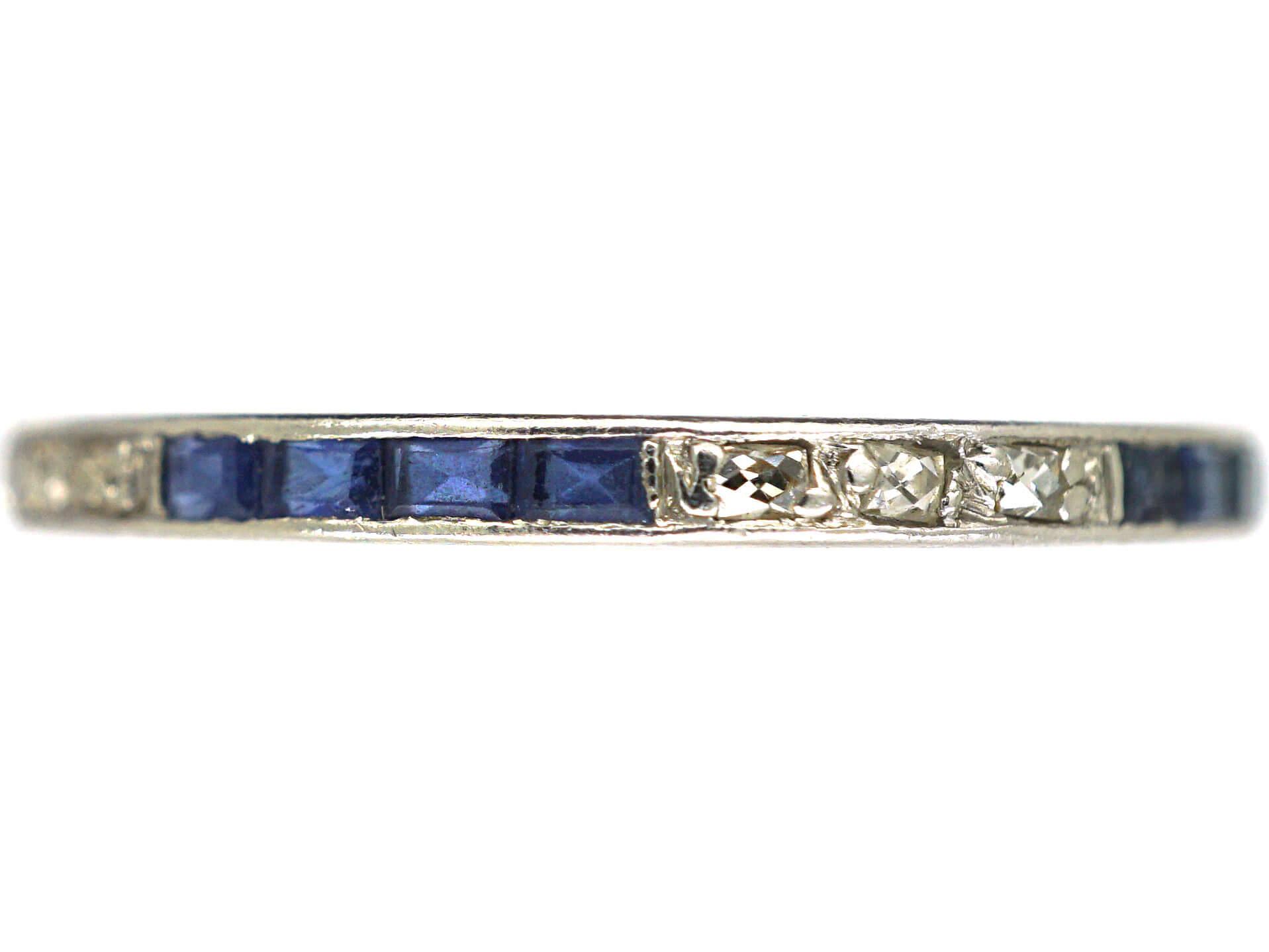 Art Deco Narrow Platinum, Sapphire & Diamond Eternity Ring
