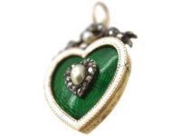 Edwardian 15ct Gold Green & White Enamel Heart Pendant with Rose Diamond & Natural Split Pearl Heart Centre