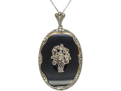 Art Deco Silver, Onyx & Marcasite Pendant with Flower Basket Motif on Silver Chain