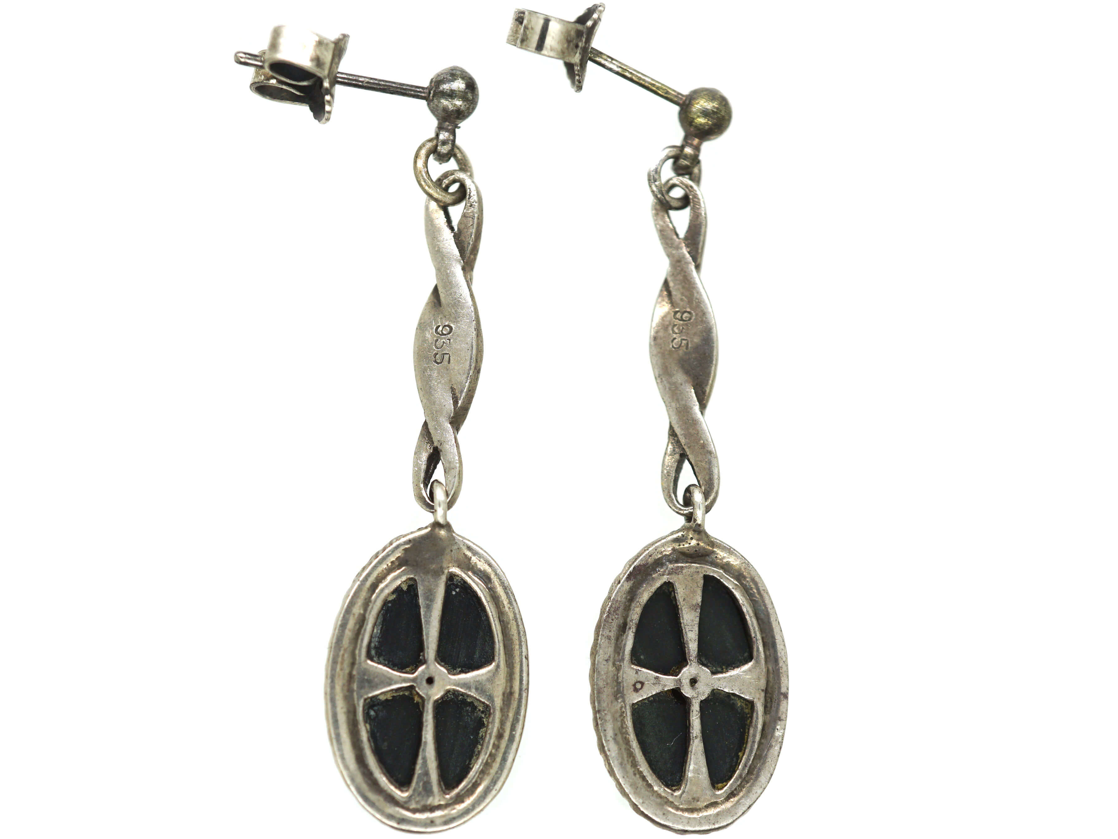 Art Deco Silver, Onyx, Marcasite & Paste Drop Earrings