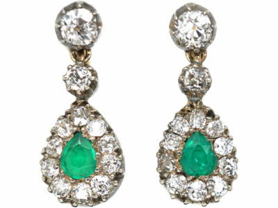 Edwardian Diamond & Emerald Drop Earrings