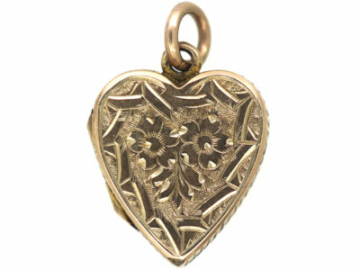 Edwardian 9ct Gold Heart Shaped Locket with Flower & Shield Engraving