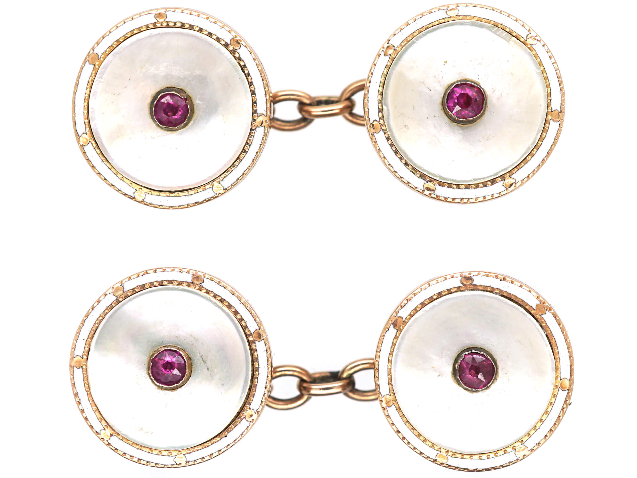 Edwardian 15ct Gold Round Mother of Pearl, White Enamel & Ruby Cufflinks