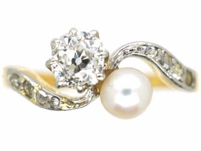 Edwardian 18ct Gold & Platinum, Diamond & Pearl Crossover Ring
