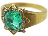 Victorian 18ct Gold, Emerald & Rose Diamond Cluster Ring