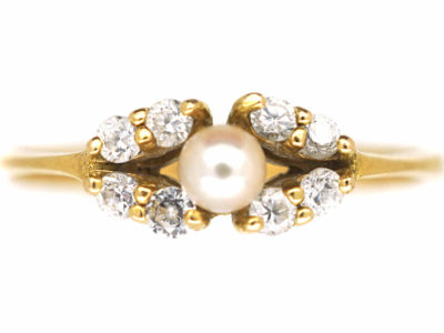 18ct Gold, Cultured Pearl & Diamond Ring