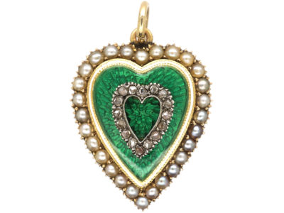 Edwardian 15ct Gold, Green & White Enamel Natural Split Pearl & Rose Diamond Heart Pendant with Locket Back