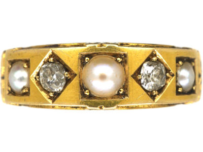 Victorian 18ct Gold, Diamond & Natural Split Pearl Ring