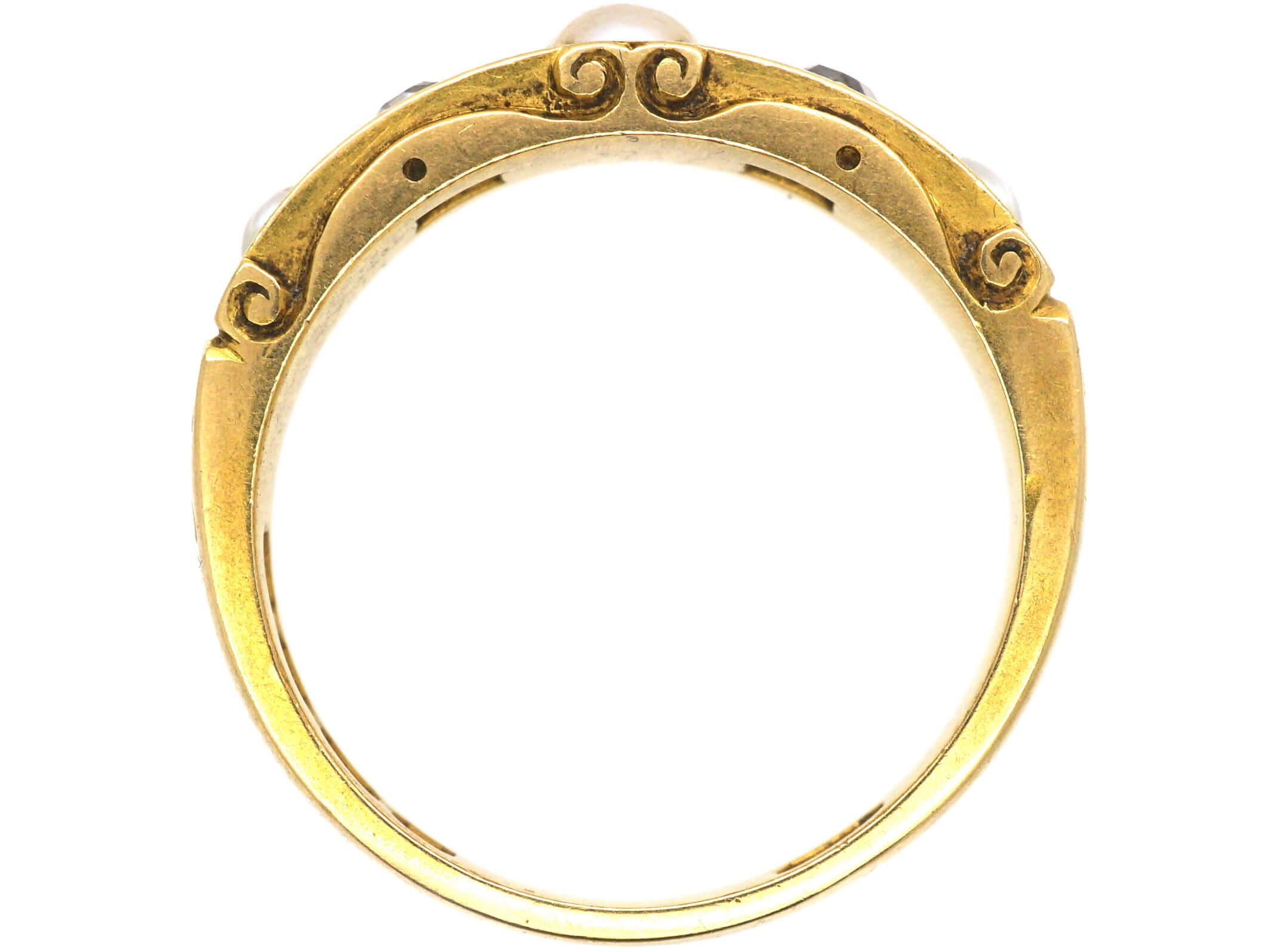 Victorian 18ct Gold, Diamond & Natural Split Pearl Ring