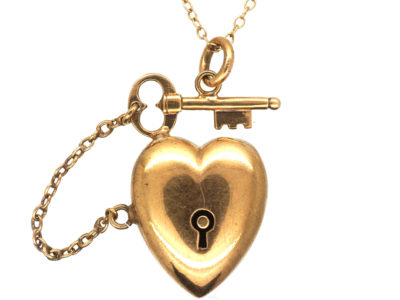 Edwardian 9ct Gold Heart & Key to Your Heart Pendant on 9ct Gold Chain