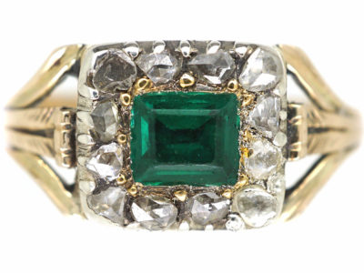 Georgian 15ct Gold, Emerald & Rose Diamond Rectangular Design Ring