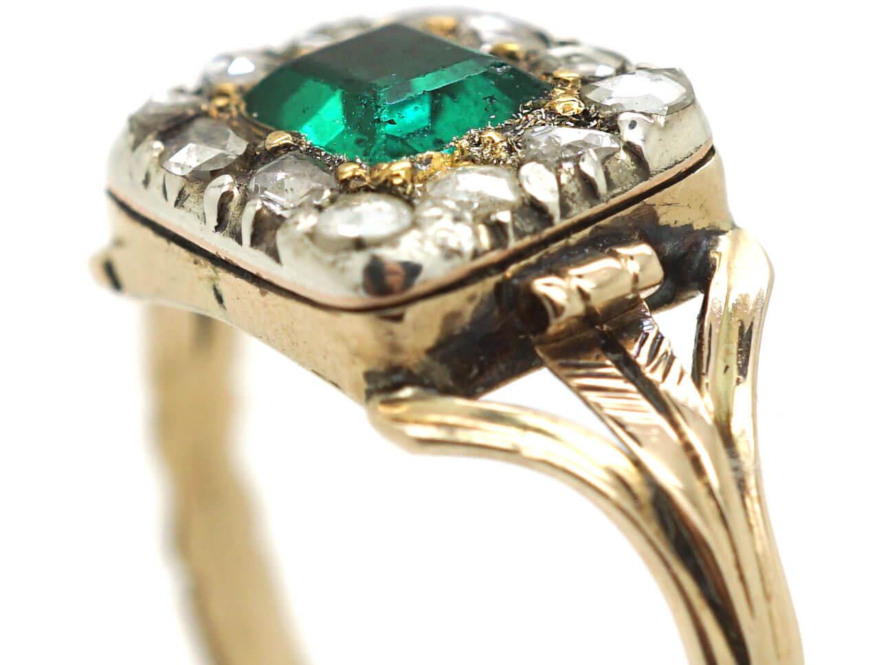 Georgian 15ct Gold, Emerald & Rose Diamond Rectangular Design Ring