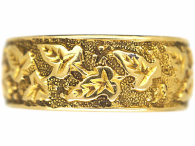 Victorian 18ct Gold Wedding Band with Ivy Leaf Motif