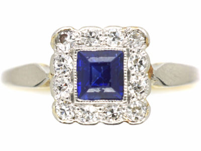 Art Deco 18ct Gold & Platinum, Sapphire & Diamond Square Ring