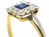 Art Deco 18ct Gold & Platinum, Sapphire & Diamond Square Ring