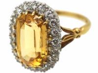 Edwardian 18ct Gold & Platinum, Topaz & Diamond Oval Cluster Ring
