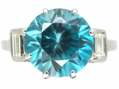 Art Deco Platinum, Zircon & Baguette Diamond Ring