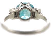 Art Deco Platinum, Zircon & Baguette Diamond Ring