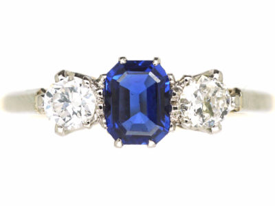 Edwardian 18ct Gold & Platinum, Three Stone Sapphire & Diamond Ring