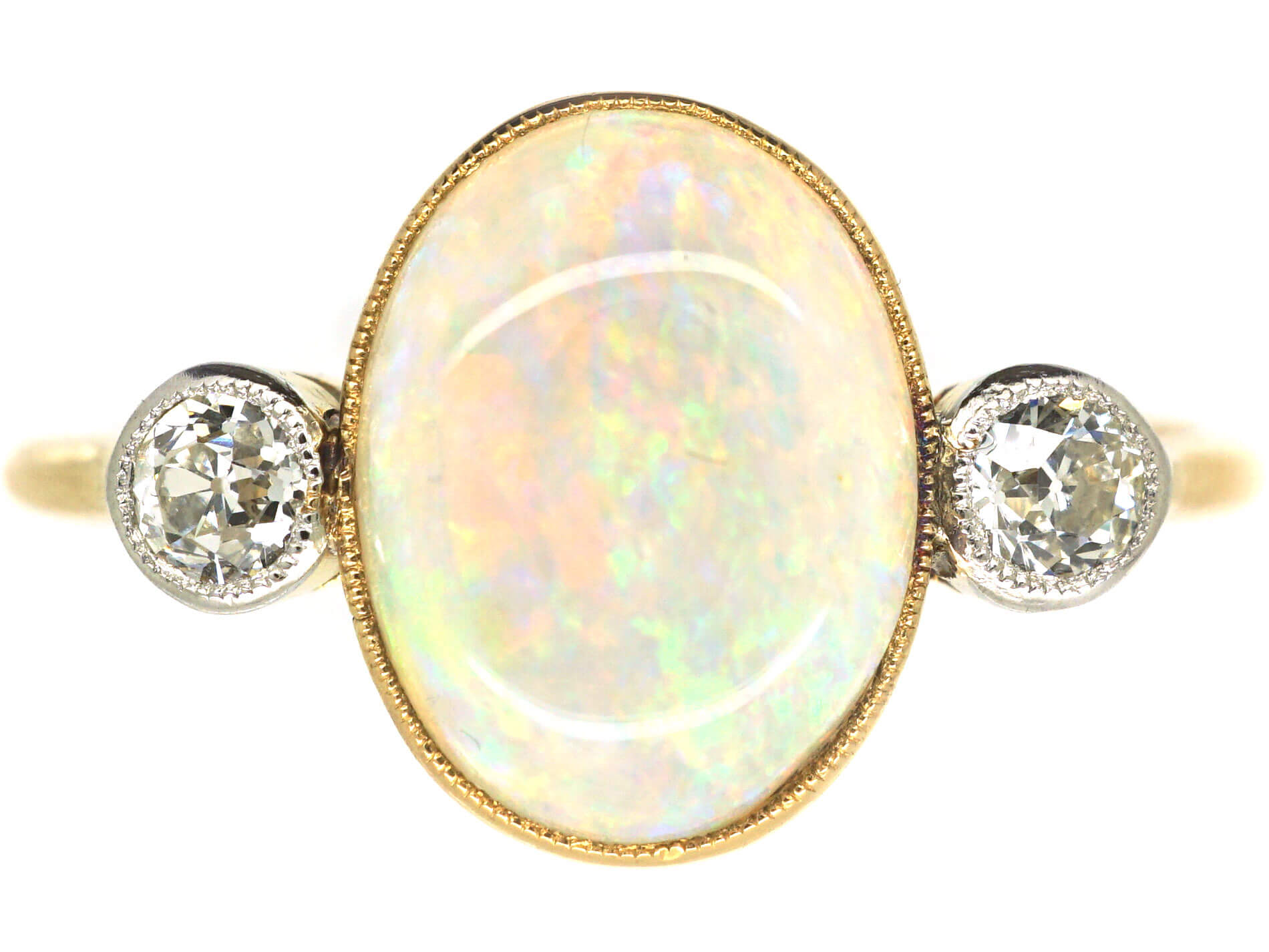 Edwardian 18ct Gold Opal & Diamond Ring by Charles Green & Sons