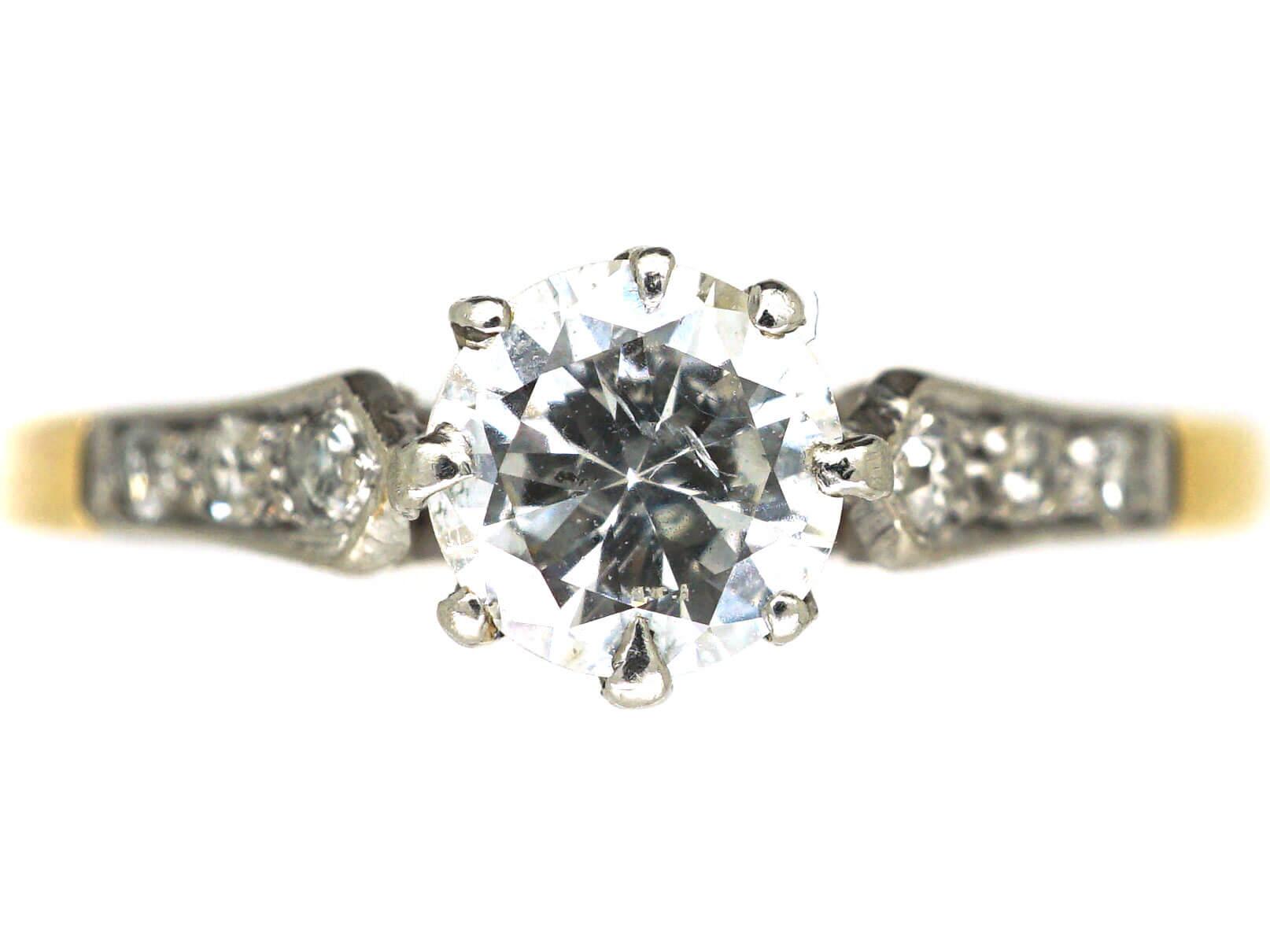 Retro 18ct Gold & Platinum, Diamond Solitaire Ring with Diamond Set Shoulders