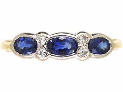18ct Gold Three Stone Sapphire & Diamond Ring