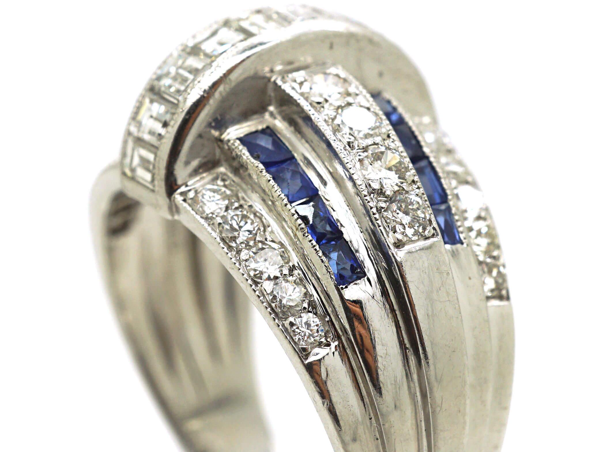 French Platinum, French Cut Sapphires & Diamond Bombé Ring