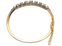 French Belle Epoque 18ct Gold & Diamond Bangle