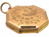 Edwardian 9ct Back & Front Octagonal Shaped Locket with Swallow Motif
