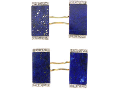 French Art Deco 18ct Gold Lapis Lazuli & Rose Diamond Cufflinks