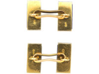French Art Deco 18ct Gold Lapis Lazuli & Rose Diamond Cufflinks