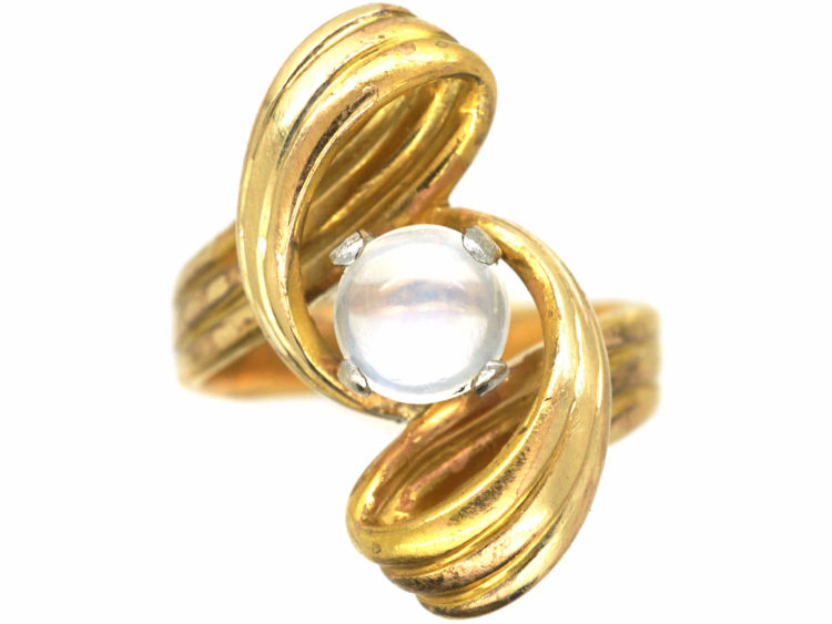 French 18ct Gold Twissel Ring set with a Moonstone
